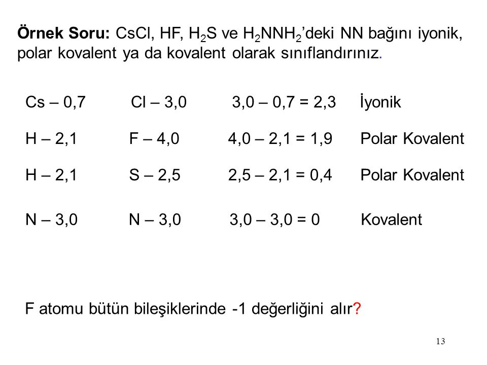 Örnek Soru: CsCl, HF, H2S ve H2NNH2'deki NN bağını iyonik, polar kovalent ya da kovalent olarak sınıflandırınız.