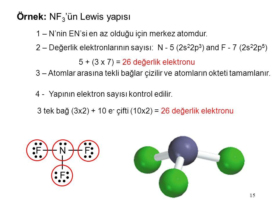 5 + (3 x 7) = 26 değerlik elektronu