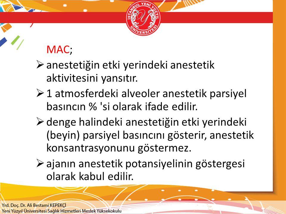 MAC; anestetiğin etki yerindeki anestetik aktivitesini yansıtır. 1 atmosferdeki alveoler anestetik parsiyel basıncın % si olarak ifade edilir.