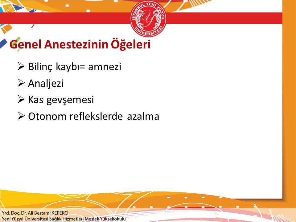 Genel Anestezinin Öğeleri