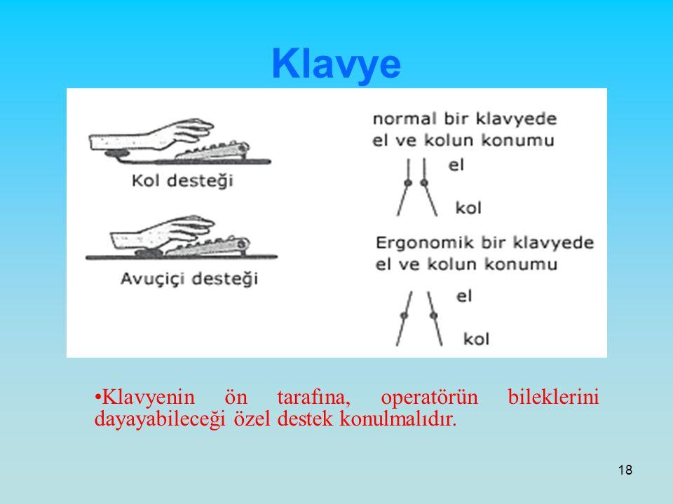 Klavye Klavyenin ön tarafına, operatörün bileklerini dayayabileceği özel destek konulmalıdır.