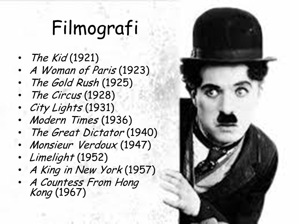Filmografi The Kid (1921) A Woman of Paris (1923) The Gold Rush (1925)