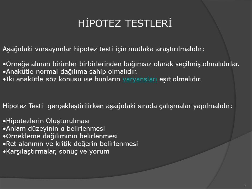 HİPOTEZ TESTLERİ Aşağıdaki varsayımlar hipotez testi için mutlaka araştırılmalıdır: