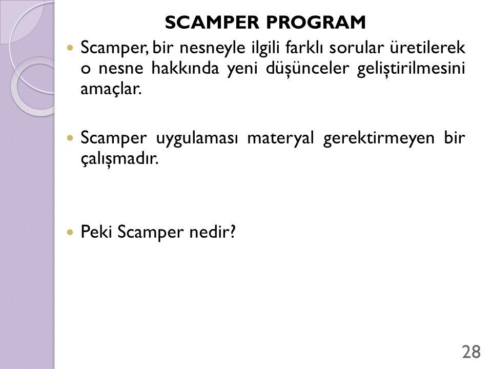 Scamper uygulaması materyal gerektirmeyen bir çalışmadır.