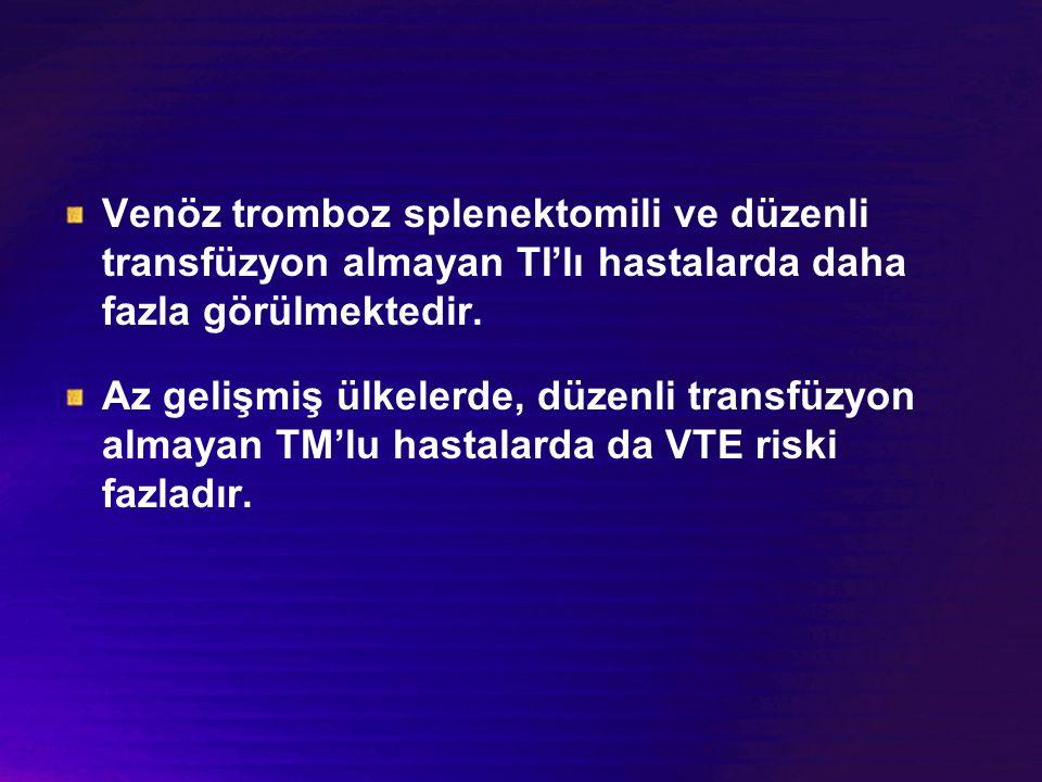 Venöz tromboz splenektomili ve düzenli transfüzyon almayan TI'lı hastalarda daha fazla görülmektedir.