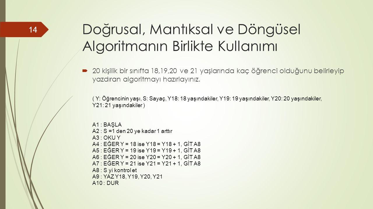Doğrusal, Mantıksal ve Döngüsel Algoritmanın Birlikte Kullanımı