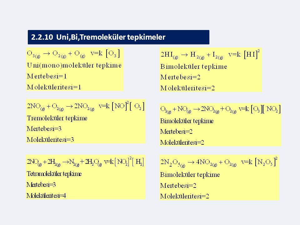2.2.10 Uni,Bi,Tremoleküler tepkimeler