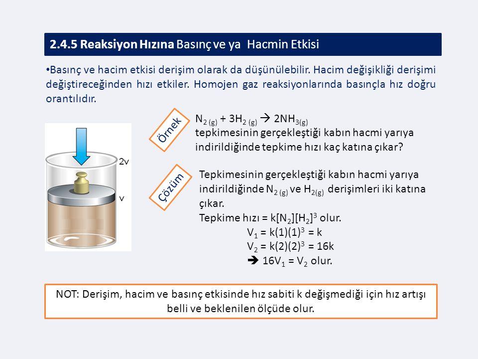 2.4.5 Reaksiyon Hızına Basınç ve ya Hacmin Etkisi