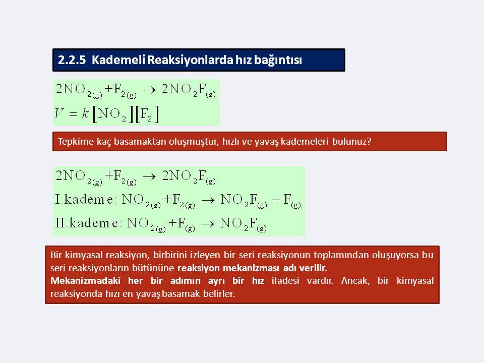 2.2.5 Kademeli Reaksiyonlarda hız bağıntısı