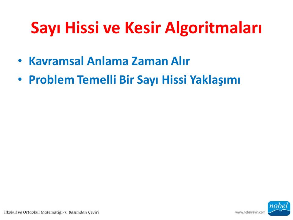 Sayı Hissi ve Kesir Algoritmaları