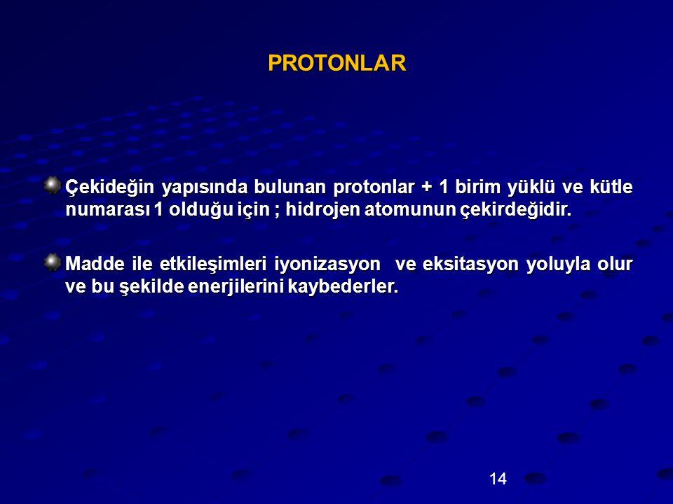 PROTONLAR Çekideğin yapısında bulunan protonlar + 1 birim yüklü ve kütle numarası 1 olduğu için ; hidrojen atomunun çekirdeğidir.