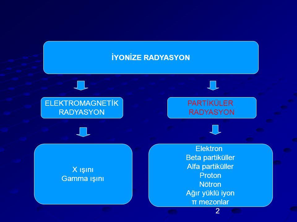 İYONİZE RADYASYON ELEKTROMAGNETİK. RADYASYON. PARTİKÜLER. RADYASYON. X ışını. Gamma ışını. Elektron.