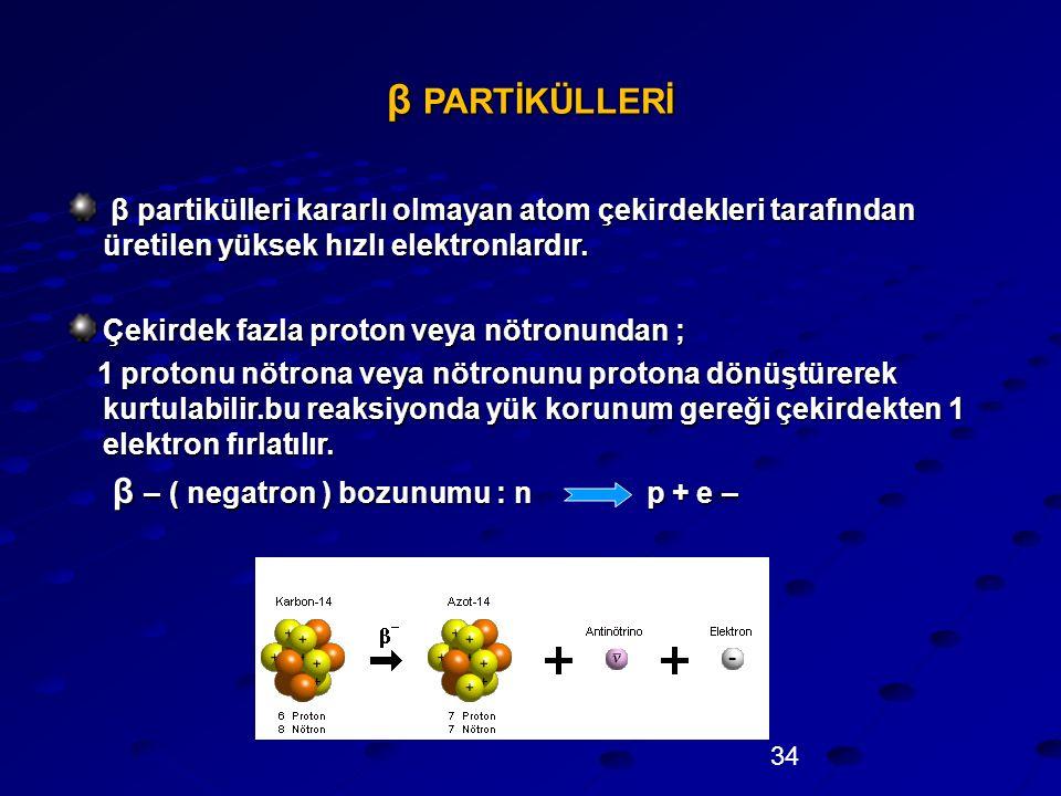 β PARTİKÜLLERİ β – ( negatron ) bozunumu : n p + e –
