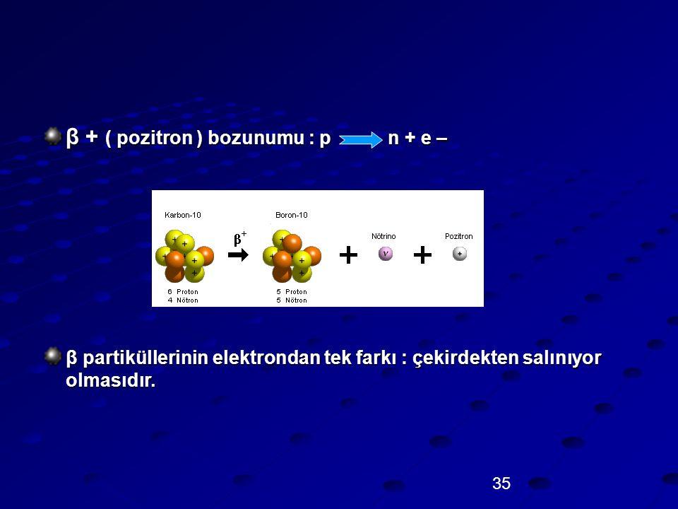 β + ( pozitron ) bozunumu : p n + e –