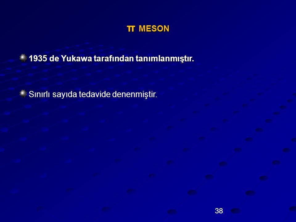 π MESON 1935 de Yukawa tarafından tanımlanmıştır.