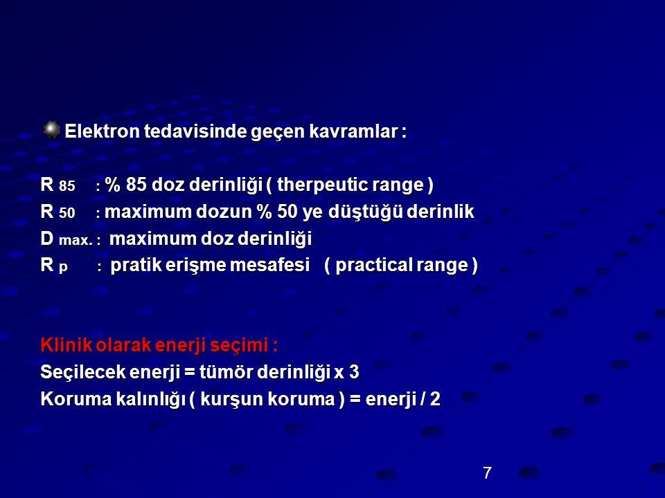Elektron tedavisinde geçen kavramlar :