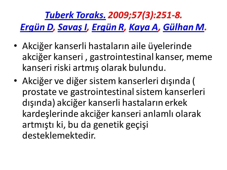 Tuberk Toraks. 2009;57(3):251-8. Ergün D, Savaş I, Ergün R, Kaya A, Gülhan M.