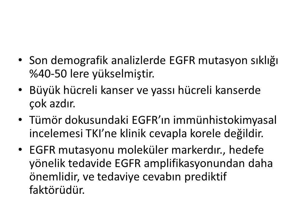 Son demografik analizlerde EGFR mutasyon sıklığı %40-50 lere yükselmiştir.