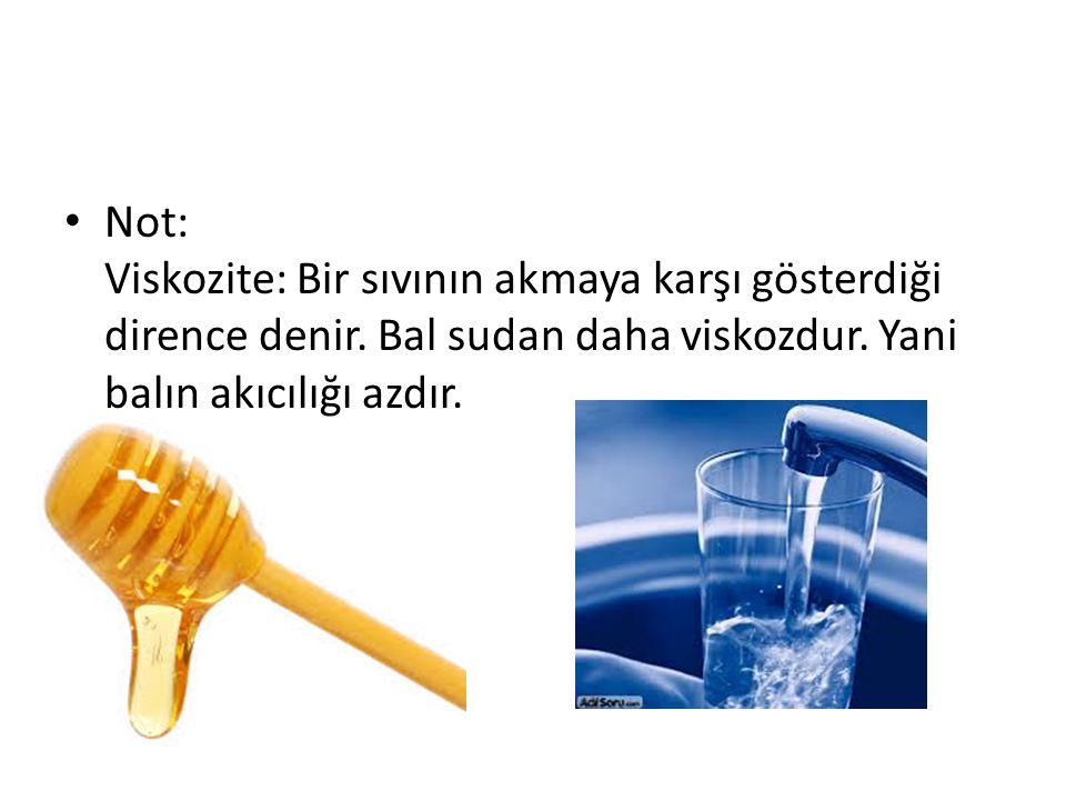 Not: Viskozite: Bir sıvının akmaya karşı gösterdiği dirence denir