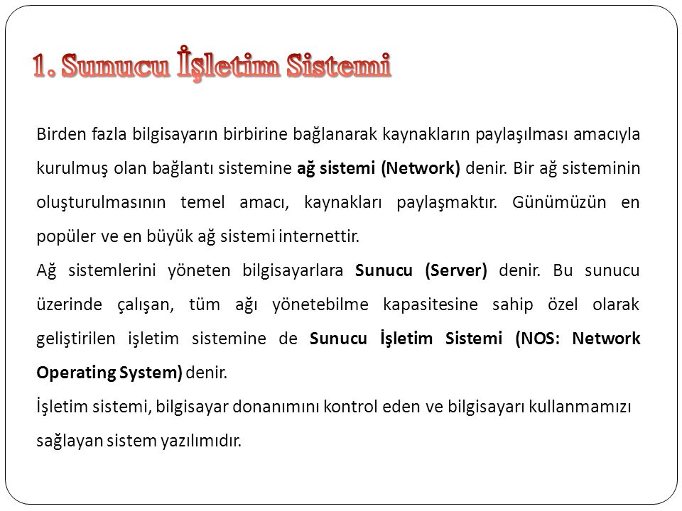 1. Sunucu İşletim Sistemi