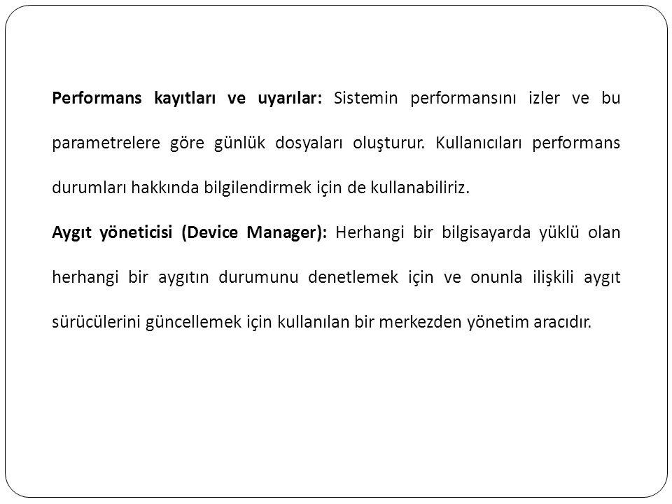 Performans kayıtları ve uyarılar: Sistemin performansını izler ve bu parametrelere göre günlük dosyaları oluşturur. Kullanıcıları performans durumları hakkında bilgilendirmek için de kullanabiliriz.