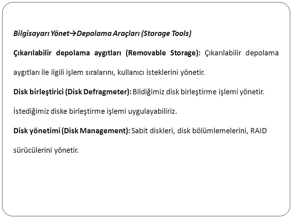 Bilgisayarı Yönet→Depolama Araçları (Storage Tools)