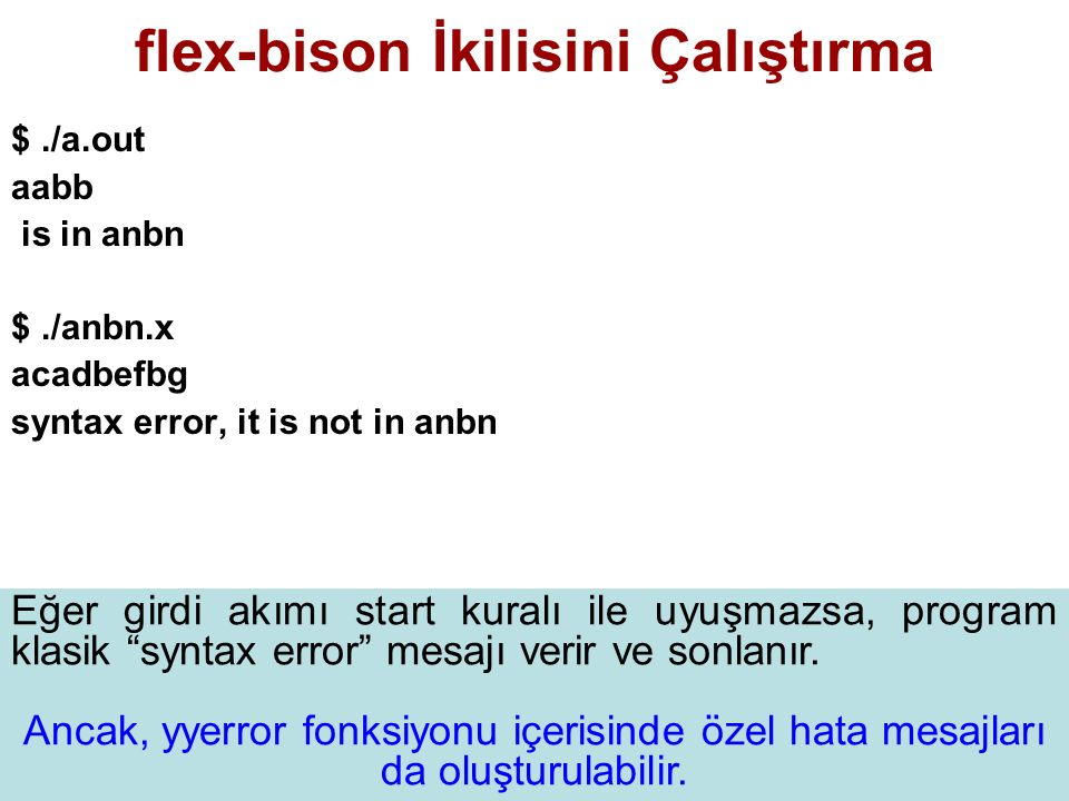 flex-bison İkilisini Çalıştırma