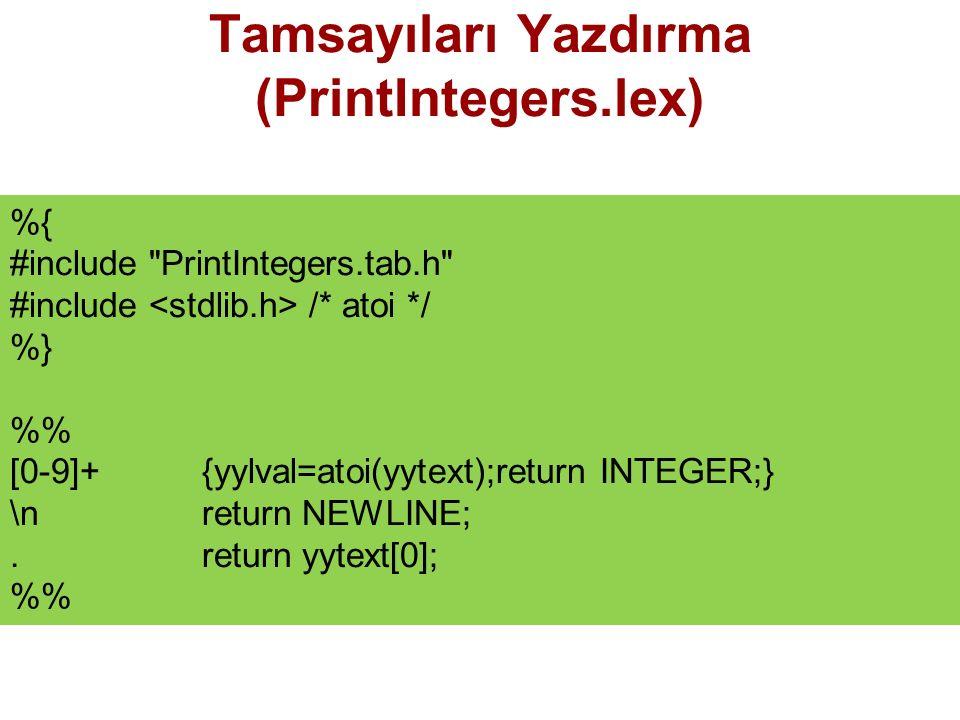 Tamsayıları Yazdırma (PrintIntegers.lex)