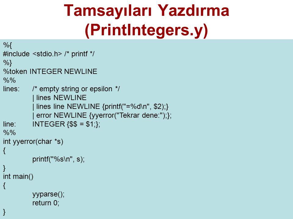 Tamsayıları Yazdırma (PrintIntegers.y)