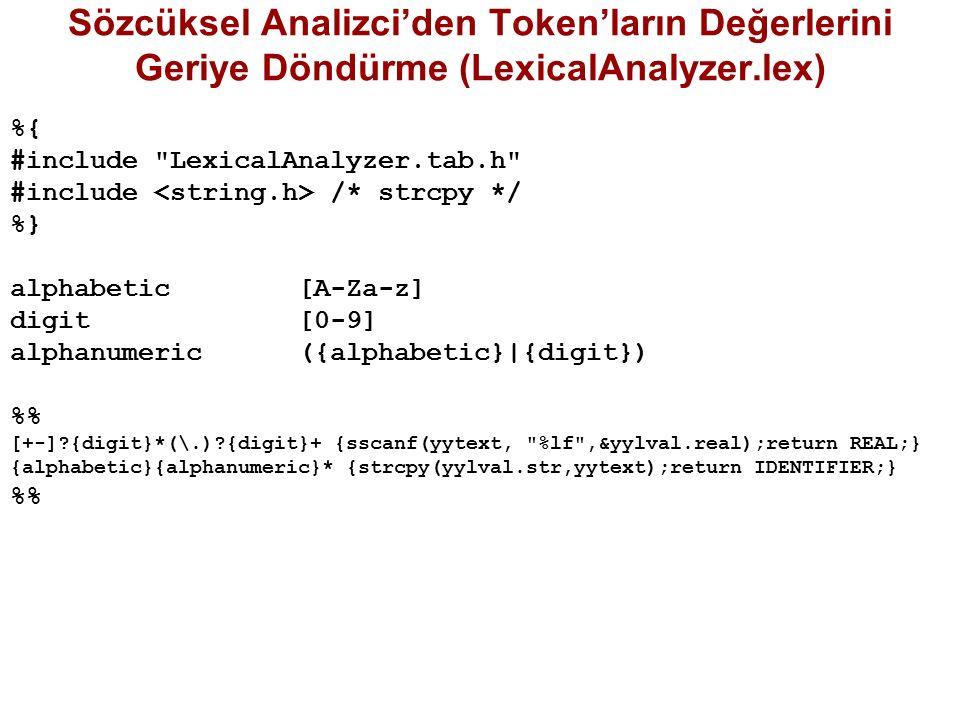 Sözcüksel Analizci'den Token'ların Değerlerini Geriye Döndürme (LexicalAnalyzer.lex)