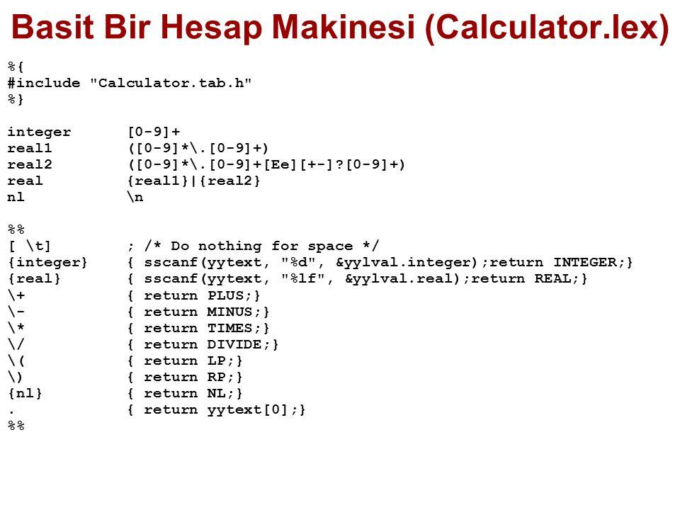 Basit Bir Hesap Makinesi (Calculator.lex)