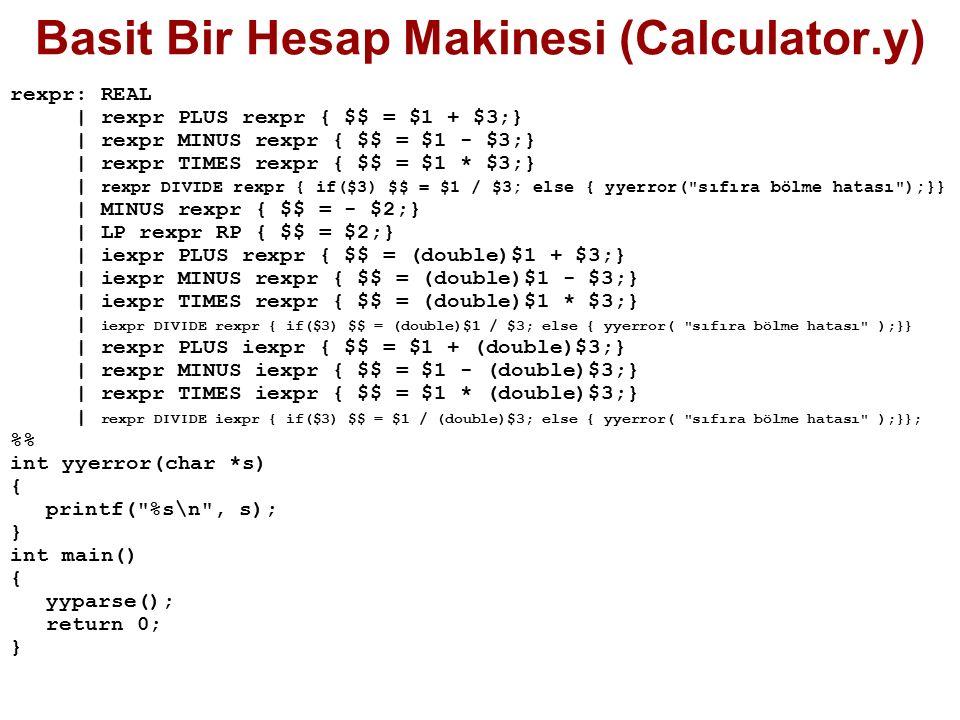 Basit Bir Hesap Makinesi (Calculator.y)