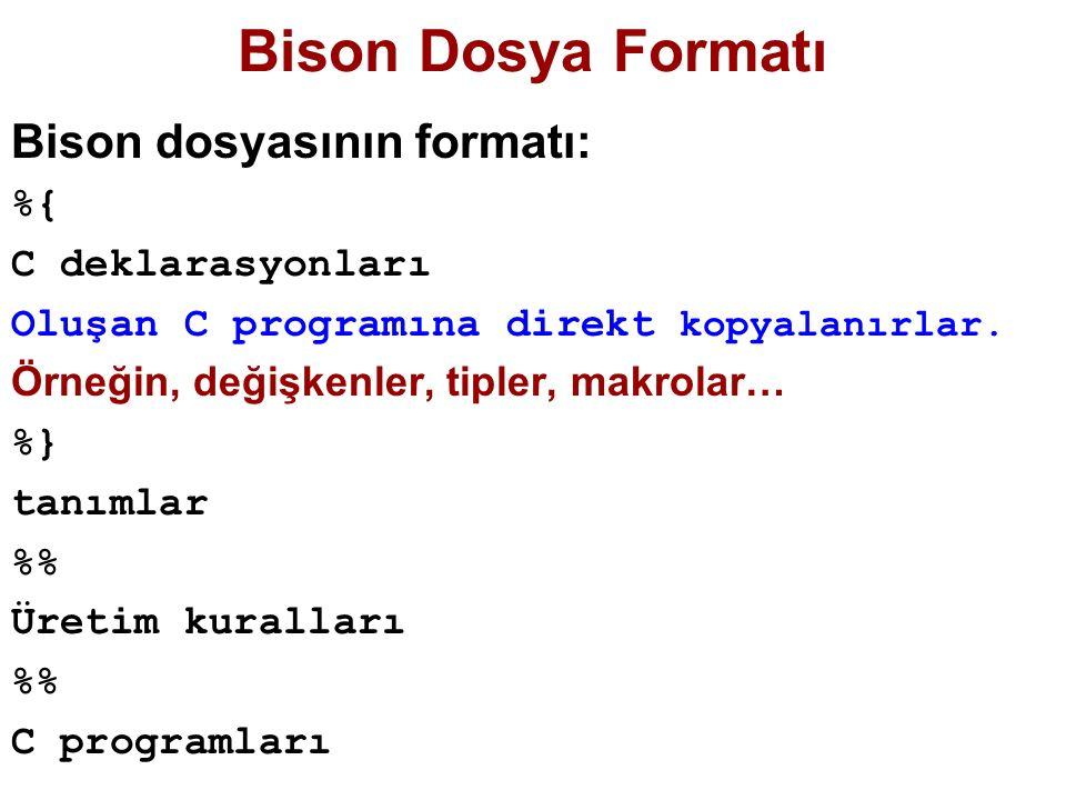 Bison Dosya Formatı Bison dosyasının formatı: %{ C deklarasyonları