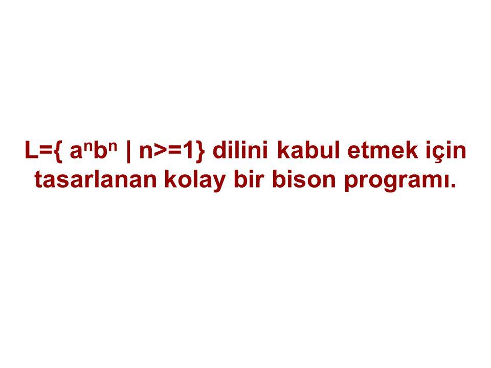 L={ anbn | n>=1} dilini kabul etmek için tasarlanan kolay bir bison programı.
