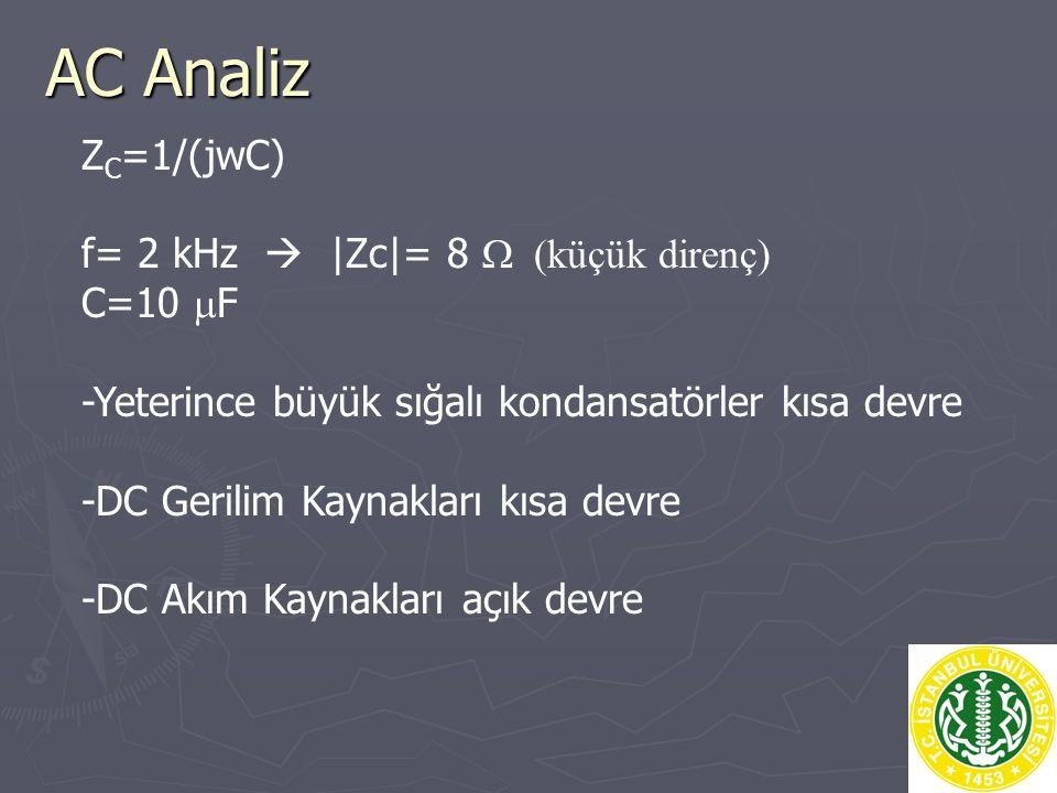 AC Analiz ZC=1/(jwC) f= 2 kHz  |Zc|= 8 W (küçük direnç) C=10 mF