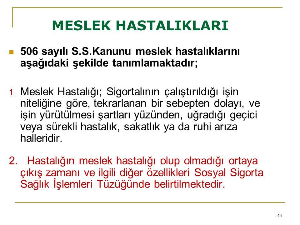 MESLEK HASTALIKLARI 506 sayılı S.S.Kanunu meslek hastalıklarını aşağıdaki şekilde tanımlamaktadır;