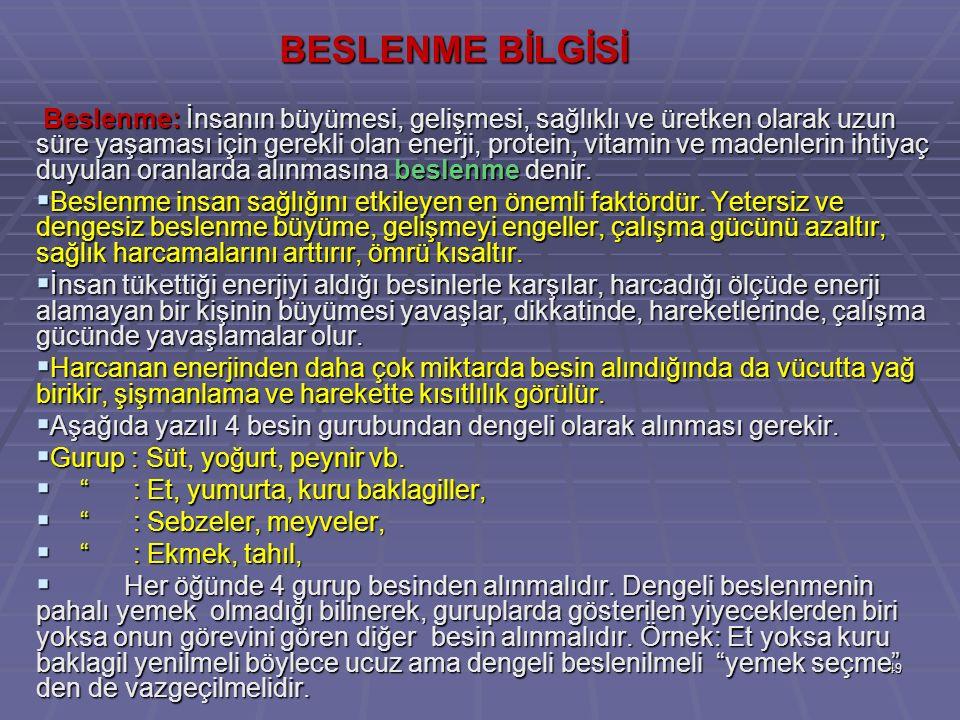 BESLENME BİLGİSİ