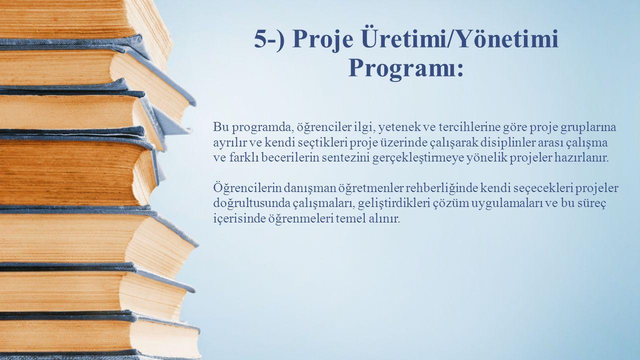 5-) Proje Üretimi/Yönetimi Programı: