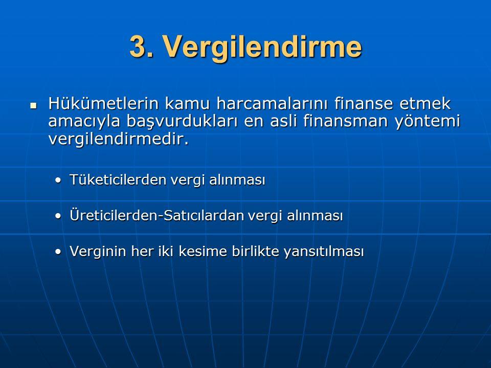3. Vergilendirme Hükümetlerin kamu harcamalarını finanse etmek amacıyla başvurdukları en asli finansman yöntemi vergilendirmedir.