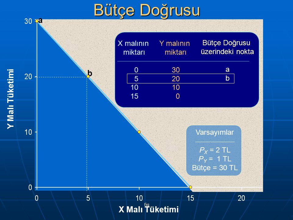 Bütçe Doğrusu a b Y Malı Tüketimi X Malı Tüketimi X malının miktarı 5