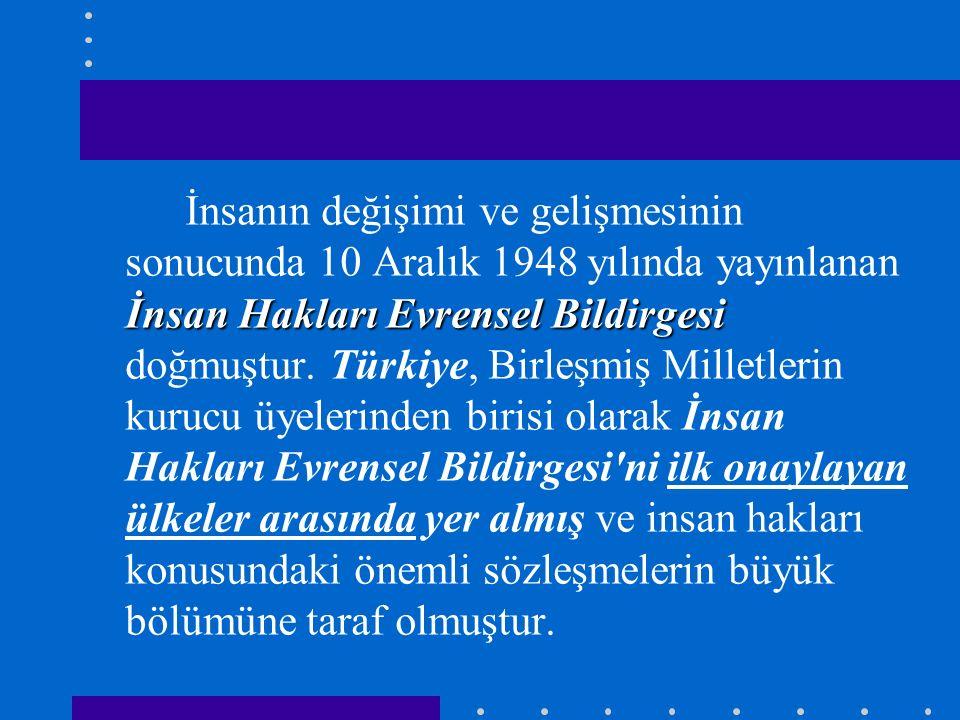 İnsanın değişimi ve gelişmesinin sonucunda 10 Aralık 1948 yılında yayınlanan İnsan Hakları Evrensel Bildirgesi doğmuştur.