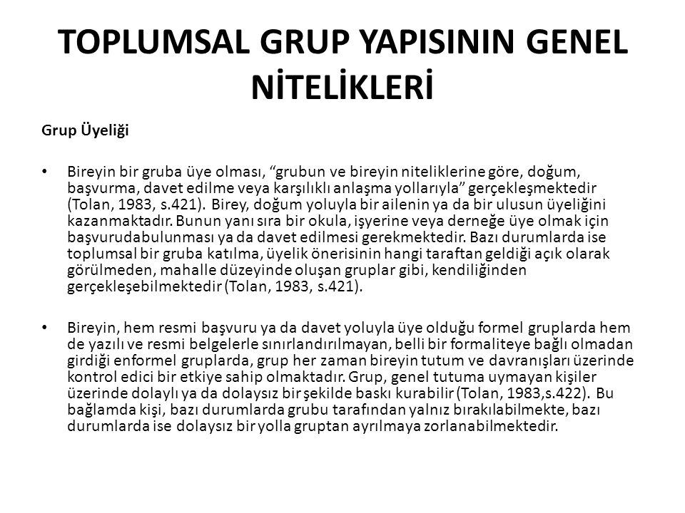 TOPLUMSAL GRUP YAPISININ GENEL NİTELİKLERİ