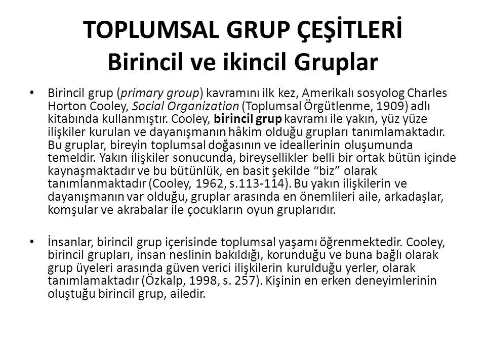 TOPLUMSAL GRUP ÇEŞİTLERİ Birincil ve ikincil Gruplar