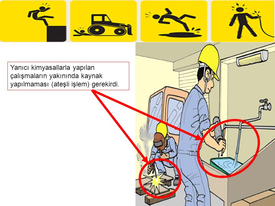 Yanıcı kimyasallarla yapılan çalışmaların yakınında kaynak yapılmaması (ateşli işlem) gerekirdi.