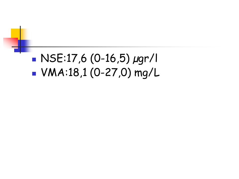 NSE:17,6 (0-16,5) µgr/l VMA:18,1 (0-27,0) mg/L