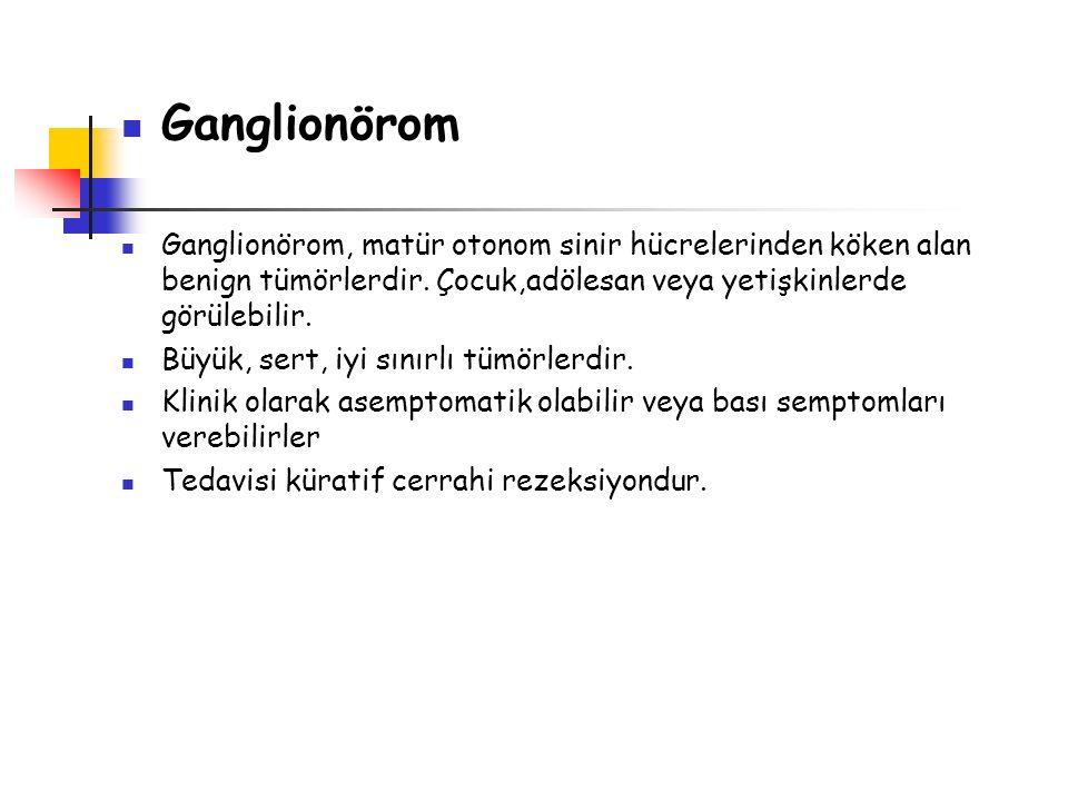 Ganglionörom Ganglionörom, matür otonom sinir hücrelerinden köken alan benign tümörlerdir. Çocuk,adölesan veya yetişkinlerde görülebilir.