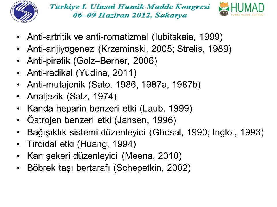 Anti-artritik ve anti-romatizmal (Iubitskaia, 1999)