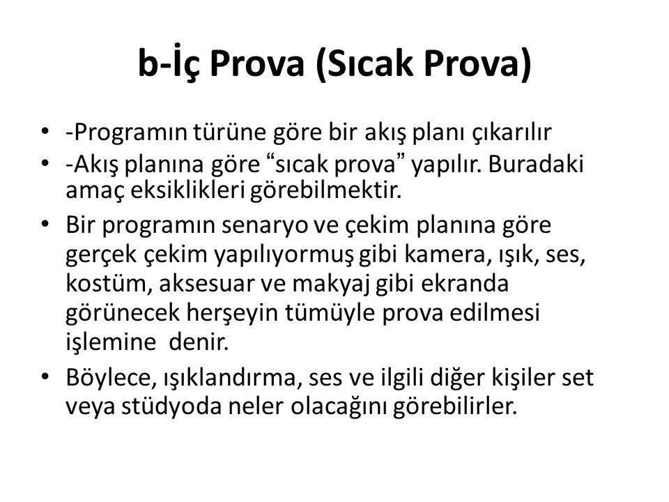 b-İç Prova (Sıcak Prova)