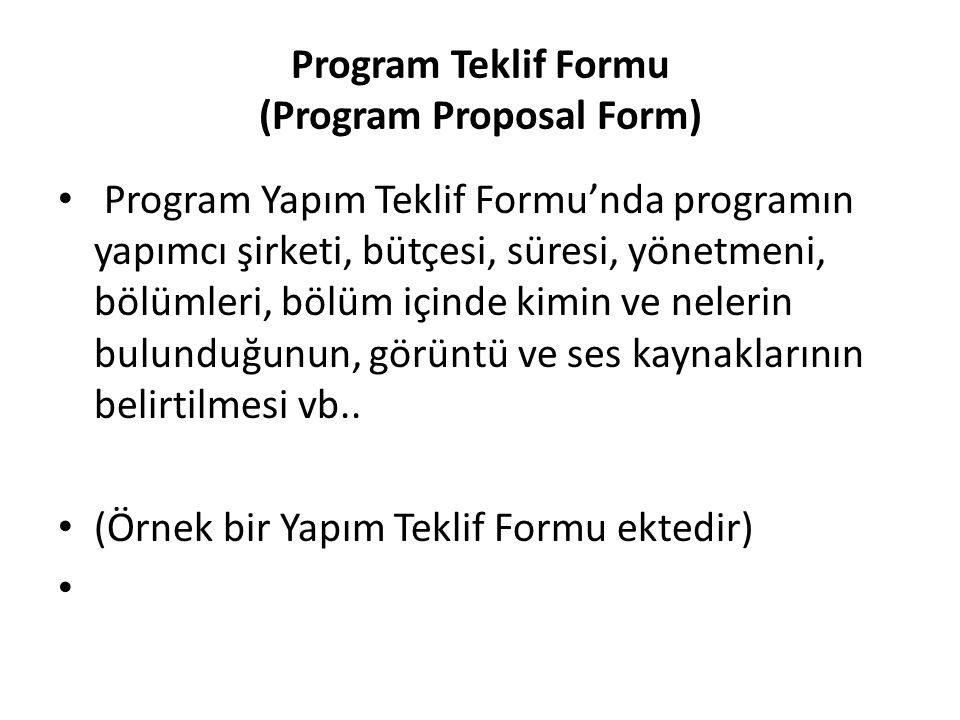 Program Teklif Formu (Program Proposal Form)