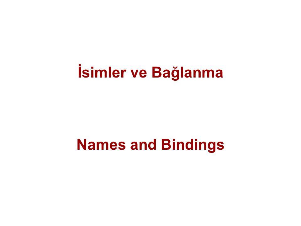 İsimler ve Bağlanma Names and Bindings